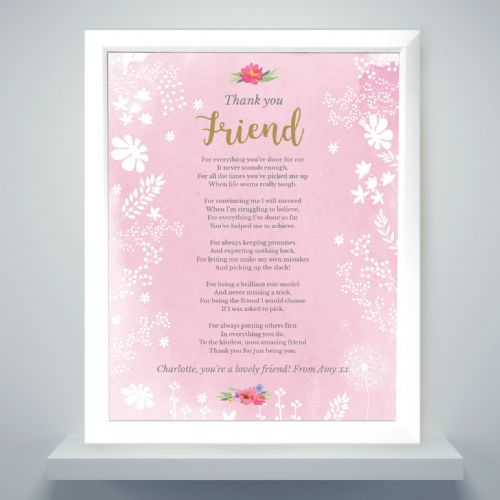 Personalised Pink Framed Print Gift to say Thank You to a Special Best Friend